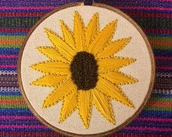 Sunflower embroidery hoop wall art