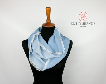 Silky Soft Light Wash Blue Denim Chambray Fashion Infinity Scarf with White Hand Fringed Edges