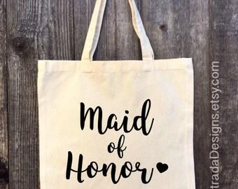 Maid of Honor Tote, Bridal Tote, Bride Bag, Bridesmaid Tote, Personalized Tote, Bachelorette Tote, Wedding Tote, Wedding Day Tote
