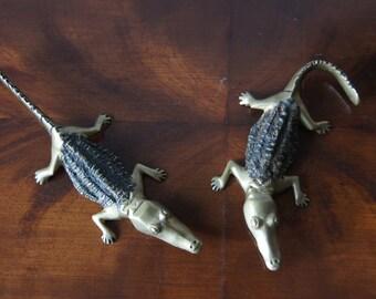 Vintage 2 crocodile figures Brass