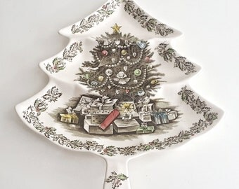 Vintage Merry Christmas Johnson Brothers Divided Relish Tray - Christmas Tree Serving Dish - Tree Platter