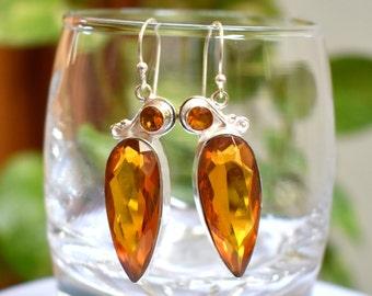 Golden Citrine Dangle Earrings - Silver Bezel Earrings - Citrine Earrings - Women Dangle Earrings