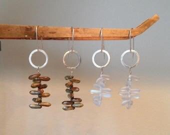 Silver Geometric Earrings - Silver Circle Earrings - Dagger Beads Earrings - Silver Earrings
