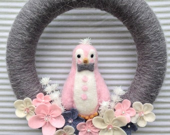 Penguin Wreath, Pink Penguin Wreath, Winter Wreath, Yarn Wreath, Grey Yarn Wreath, Flower Wreath, Felt Flower Wreath