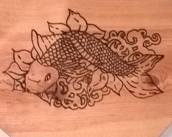 Koi Fish on wood, wood burning, rustic,