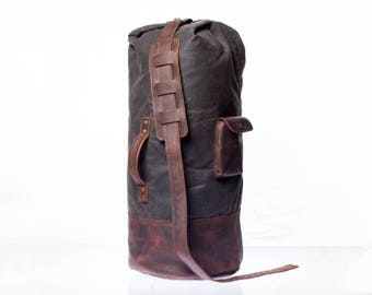 Canvas Duffel Bag, Mens Duffle Bag, Waxed Duffel, Leather Duffle, Duffle Bag Men, Men Duffel Bag
