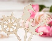 Nautical Anchor Cupcake Topper Ring Cupcake toppers Engagement Party Anchor Bridal shower Bachelorette party shower Donnut topper Set of 12