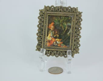 Tiny Miniature Italian Picture in Ornate Frame