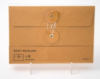 "Midori kraft envelopes with button and string closure, 4.5"" x 6.75"", eight pack"