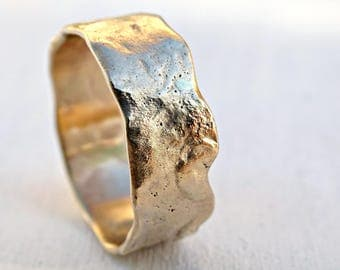 reticulated gold ring, 14k gold wedding band unique promise ring molten gold, cool mens wedding band gold, unisex wedding ring gold