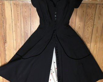 Vintage 1950s Western Swing Polka Dot Petticoat Dance Dress Black White And Red