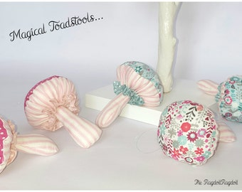 Magical Toadstools, Handmade, Decoration, Hanging decoration, Fairy house, Hand Crafted,  Makower fabric