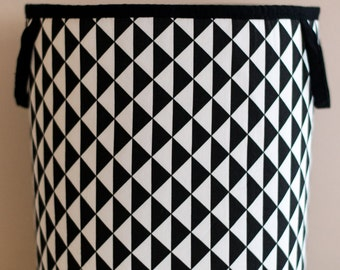 Toy Storage, Nursery Fabric Basket, Storage Bin, Toy Basket, Nursery Storage, black, White, triangl