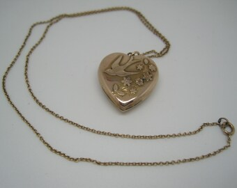 Antique Edwardian rose gold heart locket pendant and chain