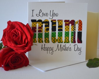 African Fabric/Ankara/Wax Print Mother's Day Card- Mums the word