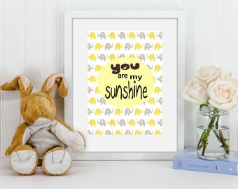 "A4 Nursery Print ""you are my sunshine""  Nursery Decor Yellow Elephants Quotes"