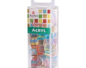 Acrylic mosaic, 1 x 1 cm, transparent, SB box approx. 205 pieces per 50 g, pastel