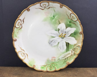 Beautiful Hand Painted Plate,Italy Antique Plate, Fine China Breakfast Plate Featuring White Flower Floral Design,Gold Trim Accents