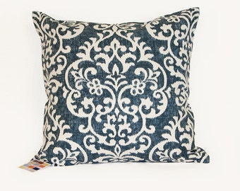 Indigo Pillow Cover with Zipper Closure, Blue and White Designer Pillow Cover in Multiple sizes