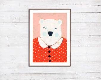 Frau Eisbär Illustration Druck Print A4 Portrait Tier freundliche Bärin bunte Dekoration für Baby und Kind
