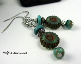 Earrings, ear tunics, turquoise Brown