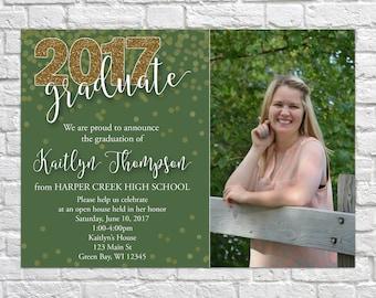 Glitter Graduation Open House Invitation, Graduation Announcement, Senior Picture, Custom Photo, Graduation Party, Class of 2017, green