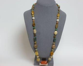 Vintage Multi Colored Semi-Precious Pebble Gemstone Necklace