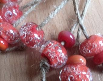 Beads air bubbles, Beads glass, lampwork beads, beads set, Handmade Lampwork