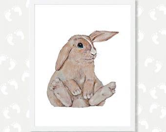 Bunny Print Woodland Nursery Wall Art Bunny Watercolor Painting Rabbit Baby Nursery Printable Animal Print Instant Download Digital Download