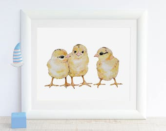 Baby Chicks Painting Chicken Art Baby Animal Print Farm Animal Nursery Decor Easter Decor Watercolor Kids Room Wall Art Barn Baby Girl Boy