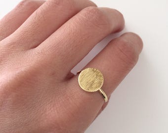 Simple dainty brushed disc ring