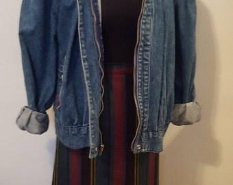 """Vintage High Waist """"Plaid-Like"""" Mini Skirt W/ Back Pleats"""