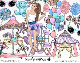 Fashion Girl Clip Art Watercolor Clipart PNG Pastel Carnival Candy Balloons Glitter Hand Drawn Babe Illustration Planner Sticker Graphics