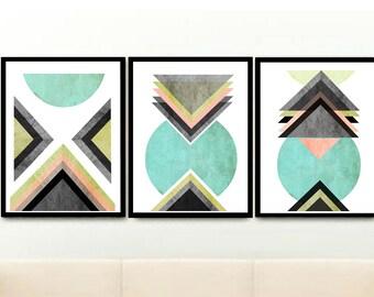 Triptych Prints, Wall Prints, Set of 3 Prints, Geometric Prints,  Abstract Art Prints, Scandinavian Modern, Giclee prints, Wall Art