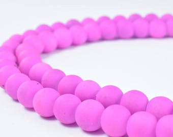 Glass Beads Matte Rubber Over Glass Size 8mm Round For Jewelry Making Item#789222046231