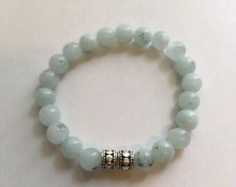ON SALE! Light misty blue beaded bracelet, stretch bracelet