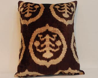 İkat Velvet Pillow Cover, 13.5'' x 18'' , Decorative Pillow, Handmade Silk Pillow, İkat Lumbar Pillow,  Shipping with Fedex 1-3 days