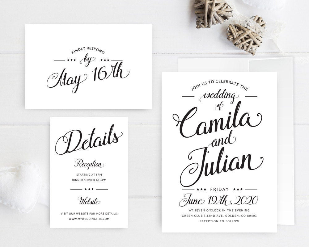 Cheap Plain Wedding Invitations: Simple Wedding Invitations Printed / Black And White Wedding