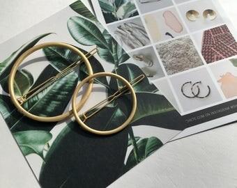 CIRLCLE Geometric Hair Clip / Geometric Circle Hair Clip Geometric Jewelry / Circle Barrette Minimalist