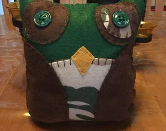 Green Camo Felt Owl