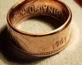 One Penny Coin Ring - Made to Order - Vinatage Coin used
