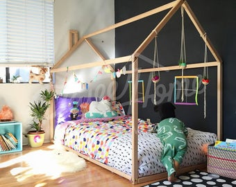 Toddler Bed House Tent Children Wooden Wood