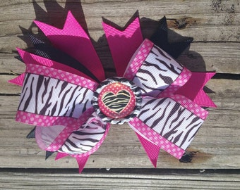 Pink and black zebra heart layered boutique hair bow