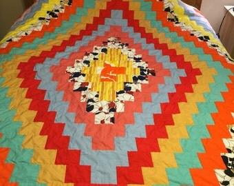 Vintage 70's large lap quilt, bright