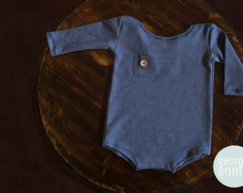Long Sleeve Little Boy Romper in Blue - Newborn, 6-9 Months or 12 Months - Photography Prop