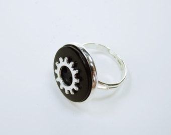 Ring gear knob steampunk ring with silver gear steampunk gears vintage look retro jewelry black button