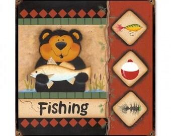 """Fishing Bear, 18"""" x 18"""""""