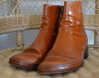 VINTAGE mens tan leather ankle boots size 8