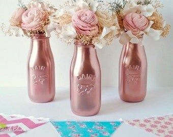 Mother's Day gift / copper milk bottles / dairy bottles / baby shower decor / centerpiece / vase / table decor / party decor / girl shower