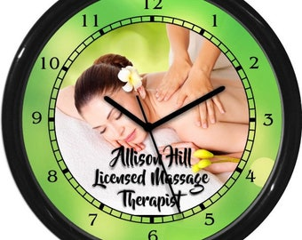 Personalized Massage Therapist Wall Clock Shop Sign